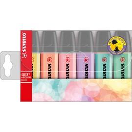 Textmarker Boss Original 70 Pastell Etui 2-5mm Keilspitze farbig sortiert Stabilo D70/6-2 (PACK=6 STÜCK) Produktbild