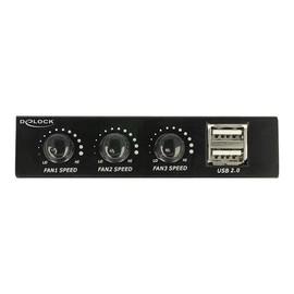 "DeLOCK 3.5"" Front Panel > 2 x USB 2.0 and fan control - Anschlüsse am vorderen Bedienfeld des Speicherschachts - USB Produktbild"