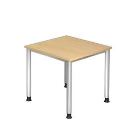 Schreibtisch HS08 80x80cm 4-Fuß-Gestell silber höhenverstellbar ahorn BestStandard Produktbild