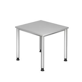 Schreibtisch HS08 80x80cm 4-Fuß-Gestell silber höhenverstellbar grau BestStandard Produktbild