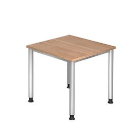 Schreibtisch HS08 80x80cm 4-Fuß-Gestell silber höhenverstellbar nussbaum BestStandard Produktbild