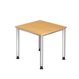 Schreibtisch HS08 80x80cm 4-Fuß-Gestell silber höhenverstellbar buche BestStandard Produktbild
