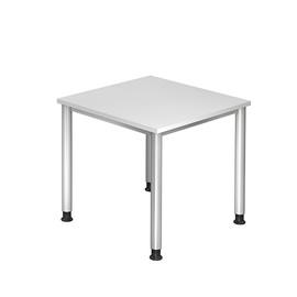 Schreibtisch HS08 80x80cm 4-Fuß-Gestell silber höhenverstellbar weiß BestStandard Produktbild