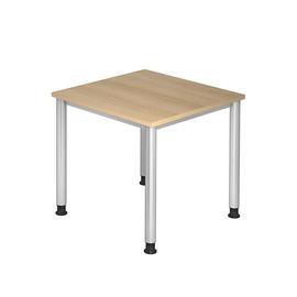 Schreibtisch HS08 80x80cm 4-Fuß-Gestell silber höhenverstellbar eiche BestStandard Produktbild