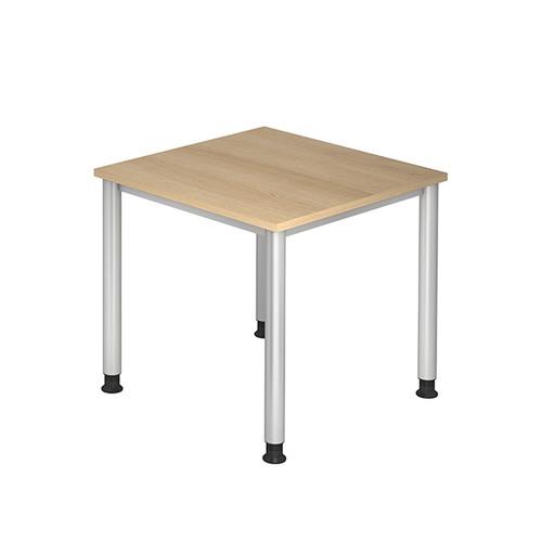 Schreibtisch HS08 80x80cm 4-Fuß-Gestell silber höhenverstellbar eiche BestStandard Produktbild Front View L