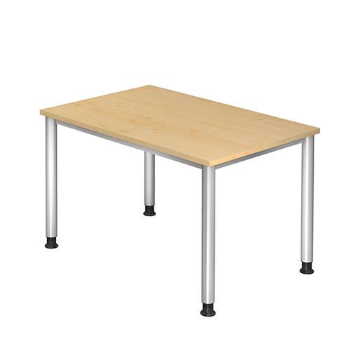 Schreibtisch HS12 120x80cm 4-Fuß-Gestell silber höhenverstellbar ahorn BestStandard Produktbild Front View L