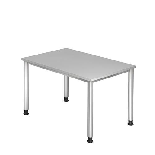 Schreibtisch HS12 120x80cm 4-Fuß-Gestell silber höhenverstellbar grau BestStandard Produktbild Front View L