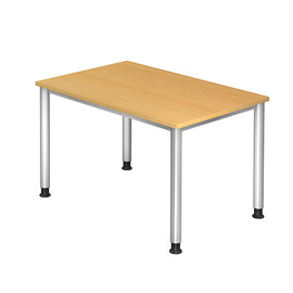 Schreibtisch HS12 120x80cm 4-Fuß-Gestell silber höhenverstellbar buche BestStandard Produktbild