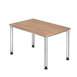 Schreibtisch HS12 120x80cm 4-Fuß-Gestell silber höhenverstellbar nussbaum BestStandard Produktbild