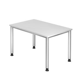 Schreibtisch HS12 120x80cm 4-Fuß-Gestell silber höhenverstellbar weiß BestStandard Produktbild