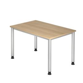 Schreibtisch HS12 120x80cm 4-Fuß-Gestell silber höhenverstellbar eiche BestStandard Produktbild
