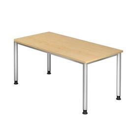 Schreibtisch HS16 160x80cm 4-Fuß-Gestell silber höhenverstellbar ahorn BestStandard Produktbild