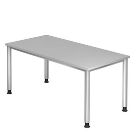 Schreibtisch HS16 160x80cm 4-Fuß-Gestell silber höhenverstellbar grau BestStandard Produktbild