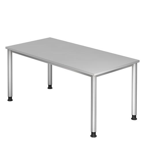 Schreibtisch HS16 160x80cm 4-Fuß-Gestell silber höhenverstellbar grau BestStandard Produktbild Front View L