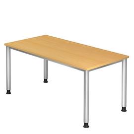 Schreibtisch HS16 160x80cm 4-Fuß-Gestell silber höhenverstellbar buche BestStandard Produktbild
