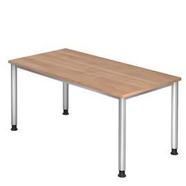 Schreibtisch HS16 160x80cm 4-Fuß-Gestell silber höhenverstellbar nussbaum BestStandard Produktbild