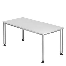 Schreibtisch HS16 160x80cm 4-Fuß-Gestell silber höhenverstellbar weiß BestStandard Produktbild