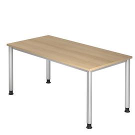 Schreibtisch HS16 160x80cm 4-Fuß-Gestell silber höhenverstellbar eiche BestStandard Produktbild