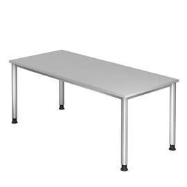 Schreibtisch HS19 180x80cm 4-Fuß-Gestell silber höhenverstellbar grau BestStandard Produktbild