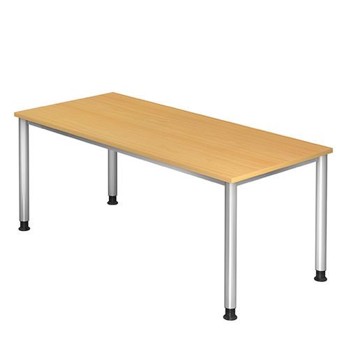 Schreibtisch HS19 180x80cm 4-Fuß-Gestell silber höhenverstellbar buche BestStandard Produktbild Front View L