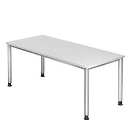 Schreibtisch HS19 180x80cm 4-Fuß-Gestell silber höhenverstellbar weiß BestStandard Produktbild