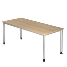 Schreibtisch HS19 180x80cm 4-Fuß-Gestell silber höhenverstellbar eiche BestStandard Produktbild