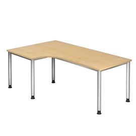 Winkel-Schreibtisch HS82 200x120cm 4-Fuß-Gestell silber höhenverstellbar ahorn BestStandard Produktbild