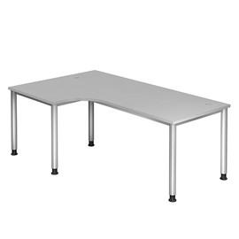 Winkel-Schreibtisch HS82 200x120cm 4-Fuß-Gestell silber höhenverstellbar grau BestStandard Produktbild