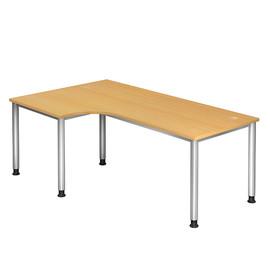 Winkel-Schreibtisch HS82 200x120cm 4-Fuß-Gestell silber höhenverstellbar buche BestStandard Produktbild