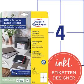 Etiketten Inkjet+Laser+Kopier 105x148mm auf A4 Bögen weiß permanent Zweckform 6124 (PACK=40 ETIKETTEN) Produktbild