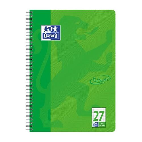 Collegeblock Oxford Touch A4+ liniert Lineatur 27 80 Blatt 90g Optik Paper weiß grasgrün 400086494 Produktbild Front View L