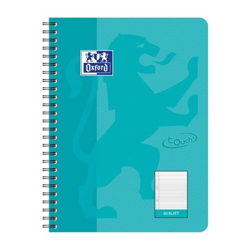Collegeblock Oxford Touch B5 liniert 80 Blatt 90g Optik Paper weiß aqua 400086489 Produktbild Front View L
