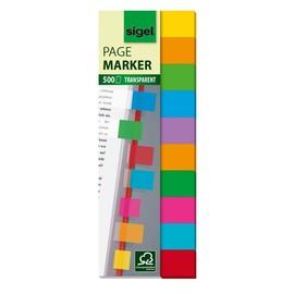 Haftmarker Film Multicolor 44x12,5mm 10 Farben transparent Sigel HN684 (PACK=500 STÜCK) Produktbild