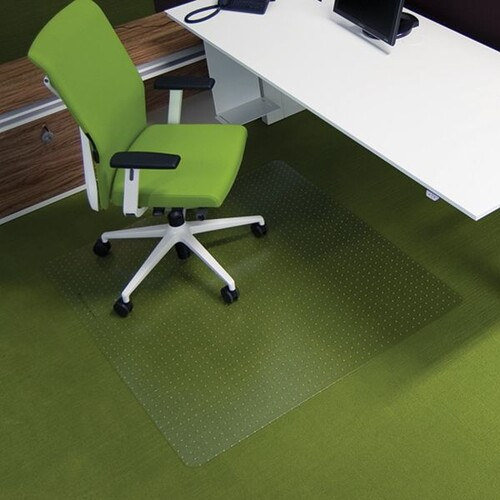 Bodenschutzmatte ecogrip für Teppich- böden Form O rechteckig 130x120cm, 1,8mm stark transparent Makrolon RS 11-130O Produktbild Front View L