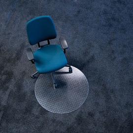 Bodenschutzmatte ecoblue für Teppich- böden Form R rund ø60cm, 2,1mm stark transparent PET RS 07-060R Produktbild