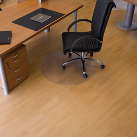 Bodenschutzmatte ecogrip für Hart- böden Form R ø60cm, 1,8mm stark transparent Makrolon RS 12-060R Produktbild