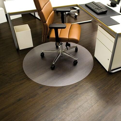 Bodenschutzmatte ecoblue für Hart- böden Form R ø60cm, 1,8mm stark transparent PET RS 08-060R Produktbild Front View L