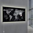 Glas-Magnetboard artverum mit LED-Licht 910x460x15mm Design World-Map inkl. Magnete Sigel GL409 Produktbild Additional View 8 S