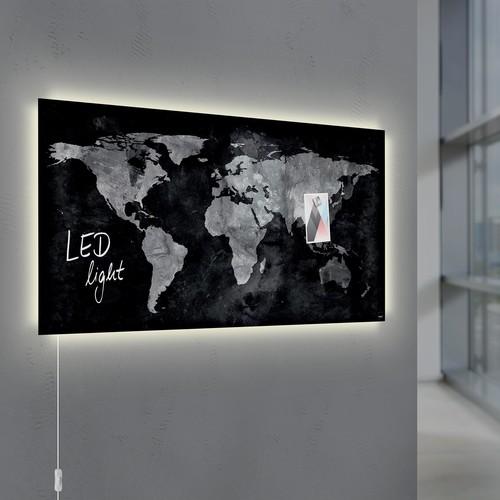 Glas-Magnetboard artverum mit LED-Licht 910x460x15mm Design World-Map inkl. Magnete Sigel GL409 Produktbild Additional View 8 L