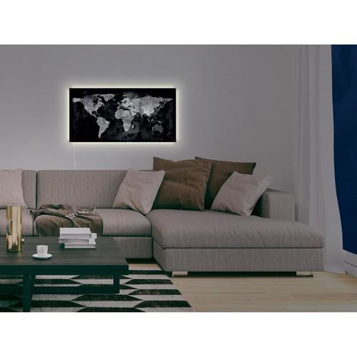 Glas-Magnetboard artverum mit LED-Licht 910x460x15mm Design World-Map inkl. Magnete Sigel GL409 Produktbild Additional View 9 L