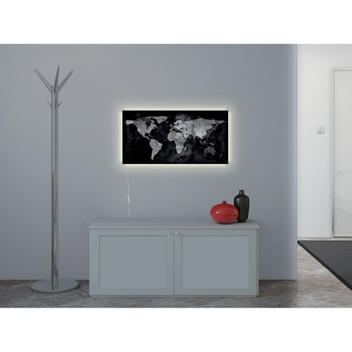 Glas-Magnetboard artverum mit LED-Licht 910x460x15mm Design World-Map inkl. Magnete Sigel GL409 Produktbild Back View L