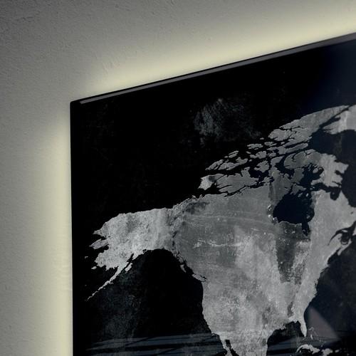 Glas-Magnetboard artverum mit LED-Licht 1300x550x15mm Design World-Map inkl. Magnete Sigel GL410 Produktbild Additional View 5 L
