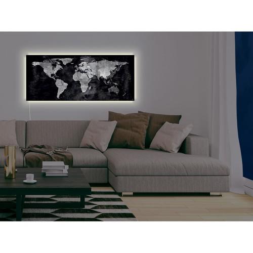 Glas-Magnetboard artverum mit LED-Licht 1300x550x15mm Design World-Map inkl. Magnete Sigel GL410 Produktbild Additional View 9 L