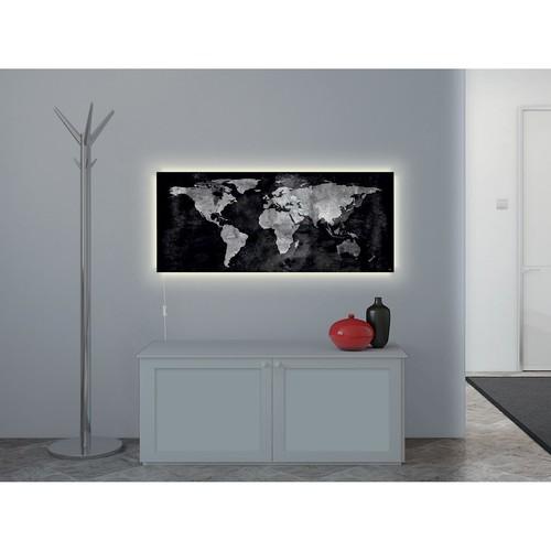 Glas-Magnetboard artverum mit LED-Licht 1300x550x15mm Design World-Map inkl. Magnete Sigel GL410 Produktbild Back View L