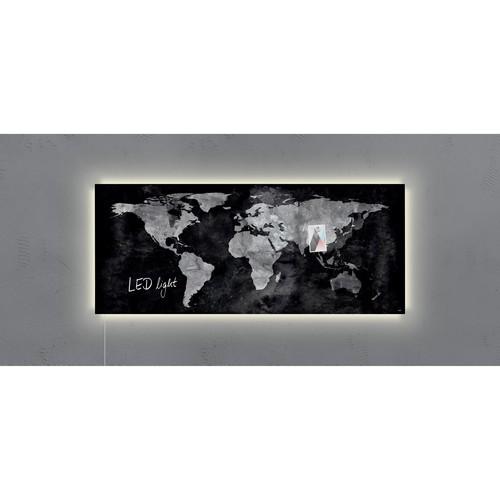 Glas-Magnetboard artverum mit LED-Licht 1300x550x15mm Design World-Map inkl. Magnete Sigel GL410 Produktbild