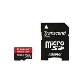 Transcend Premium - Flash-Speicherkarte (microSDXC-an-SD-Adapter inbegriffen) - 128 GB - UHS Class 1 / Class10 - 300x - Produktbild