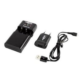 ANSMANN PhotoCam Vario - Batterieladegerät + AC-Netzteil - 1000 mA - auf Kabel: Micro-USB - Schwarz - Produktbild