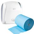Aktion Autocut Handtuchrollenspender e1 weiß / 330x221x371mm / e one + 6 Handtuchrollen 2-lagig blau (SET = SPENDER + ROLLEN) Produktbild