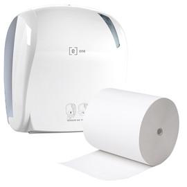Aktion Sensor Handtuchrollenspender e1 weiß / 330x221x371mm / e one + 6 Handtuchrollen 2-lagig weiß (SET = SPENDER + ROLLEN) Produktbild