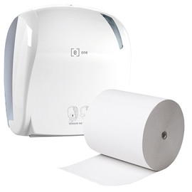 Aktion Sensor Handtuchrollenspender e1 weiß / 330x221x371mm / e one  + 6 Handtuchrollen 2-lagig Recycling (SET = SPENDER + ROLLEN) Produktbild